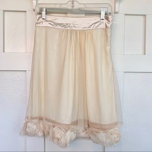 Downeast Cream Floral Tulle A-Line Skirt